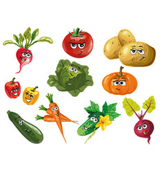 cute vegetables cartoon characters vector image