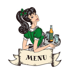 Christmas holiday theme retro waitress in green vector