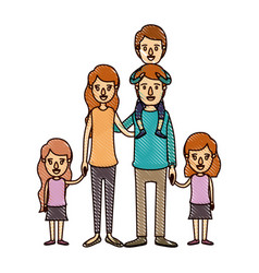 color crayon stripe cartoon big family parents vector image