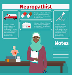 Female neuropathist and medical equipment icons vector