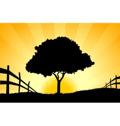 Landscape with grass sun and tree vector