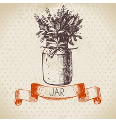 Rustic jar with lavender bouquet vector
