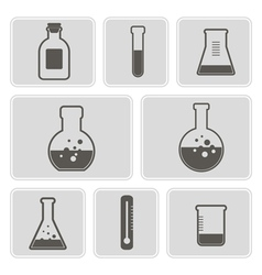 Icons with containers for chemical goods vector