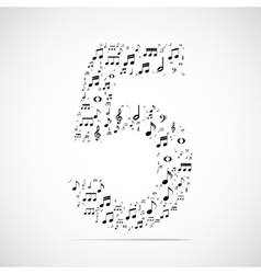 Number five made from music notes vector