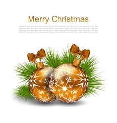 Christmas card with glass balls and fir twigs vector
