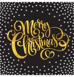 Merry christmas gold glittering lettering design vector