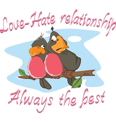 Two love birds adage postcard vector
