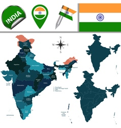India map with named divisions vector