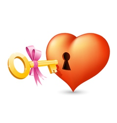 Heart with keyhole and key vector