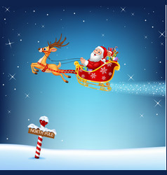 Happy santa in his christmas sled being pulled by vector