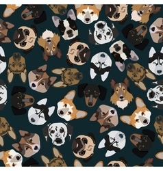 Flat dark seamless pattern pedigree dogs vector