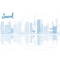 Outline seoul skyline with blue buildings vector