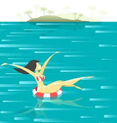 Retro poster with a girl floating in the sea vector