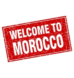 Morocco red square grunge welcome to stamp vector
