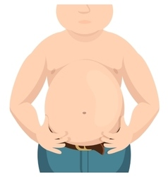 Abdomen fat overweight man with a big belly vector