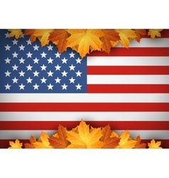 American Flag Banner Autumn leaves background vector image vector image