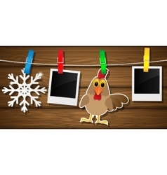 Blank photo frames rooster and snowflake on a vector