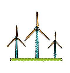 Color crayon stripe image wind turbine eolic vector