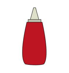 Color image cartoon red jar with tomato sauce vector