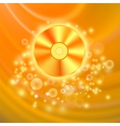 Compact Disc Isolated on Orange Background vector image vector image