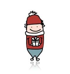 Cute boy with present box cartoon for your design vector image vector image