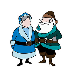 Cute couple mr and mrs santa claus characters vector