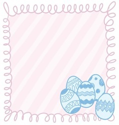 doodle easter eggs frame vector image vector image