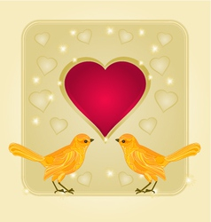 Frame heart and gold birds background vector