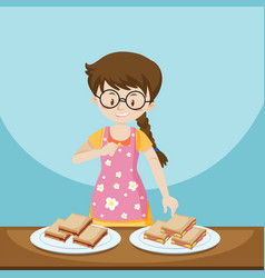 Girl and two plates of sandwiches vector