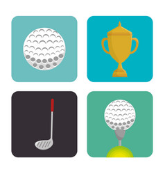 Golf sport set icons emblem vector