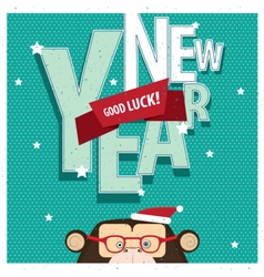 Good luck new year with monkey vector