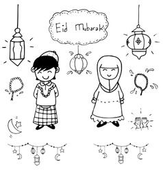 Hand draw doodle eid mubarak vector