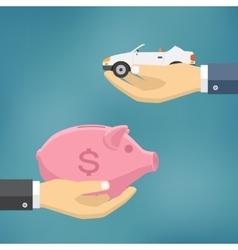 Hands with car and money bag vector image vector image