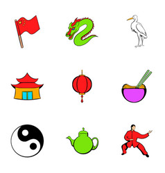 Japanese travelicons set cartoon style vector