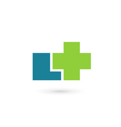 Letter l cross plus medical logo icon design vector