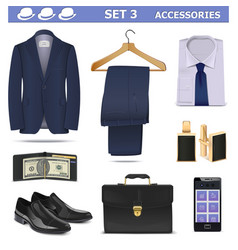 Male Accessories Set 3 vector image vector image