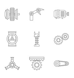mechanism parts icon set outline style vector image vector image