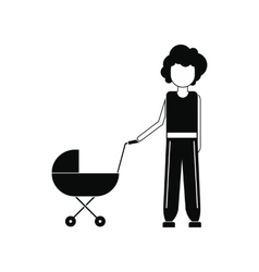 Mother with baby in stroller icon vector