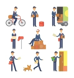 Postman delivery man character set vector