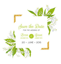 Save the date card with blossom lily valley vector
