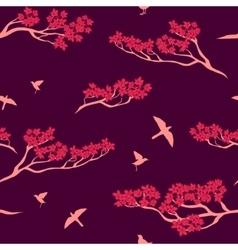 Seamless pattern of sakura tree vector image