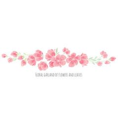 Set of design elements pink sakura blossom vector