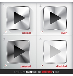 Set of four positions of metal play button vector