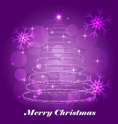 shining christmas tree winter background vector image vector image