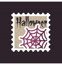 Spider web halloween stamp vector