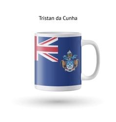 Tristan da cunha flag souvenir mug on white vector