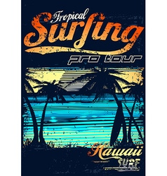 Tropical surfing at hawaiian surf beach vector