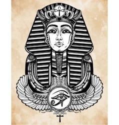 Vintage tattoo pharaoh with winged Ankh vector image vector image