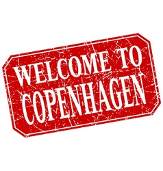 Welcome to copenhagen red square grunge stamp vector