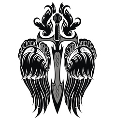 Wings and Sword vector image vector image